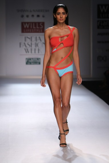 Shivan & Naresh Sexy swim wear coral and sky blue WIFW Spring Summer 2015
