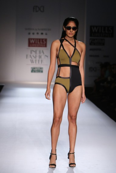 Shivan & Naresh Sexy swim wear in olive green and black WIFW Spring Summer 2015