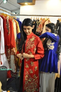 Sonali Gupta red jacket for winter wedding trial at Bridal Asia 2014