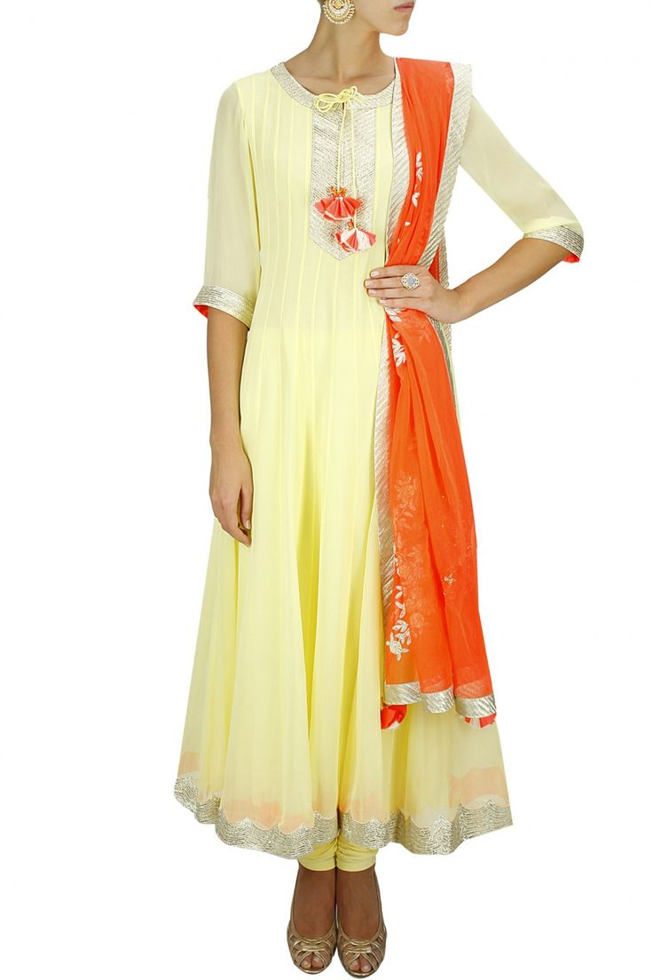 31000 Amrita Thakur pale yellow anarkali