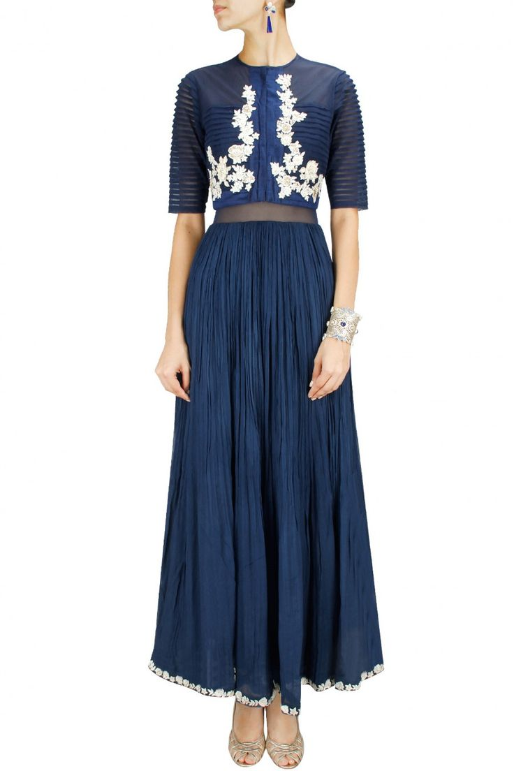 37800 Ridhi Mehra blue anarkali what to wear to friend's Sangeet