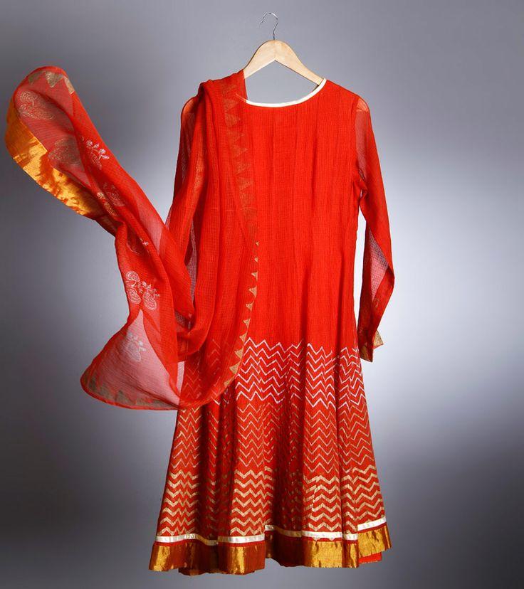 Anarkali by Devnaagri 13500 Red Kota Cotton Churidar Suit With Block Print