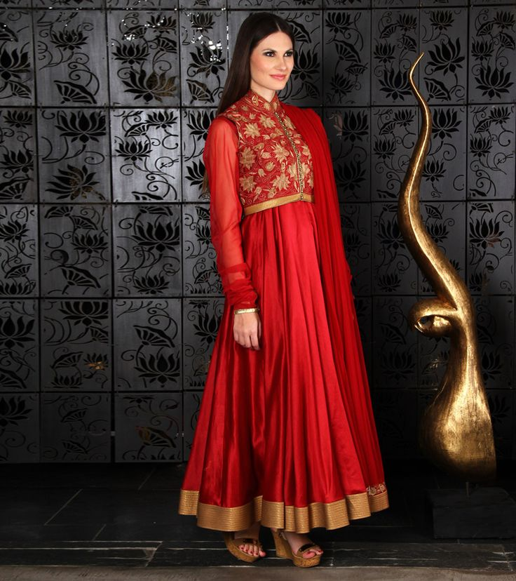 Anarkali by Rohit Bal 59900 Red Chanderi Anarkali Suit with Jacket
