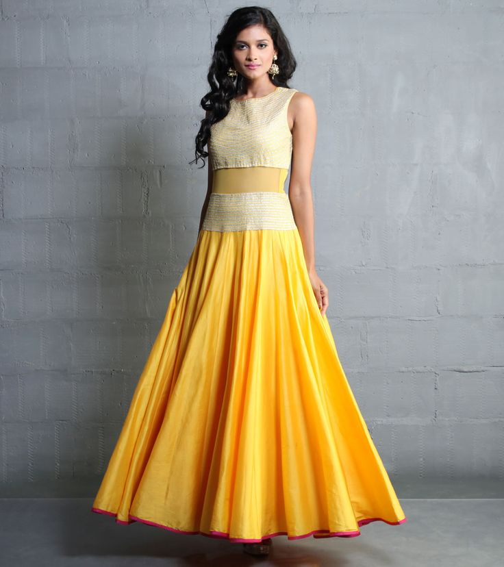 Anarkali by SVA 51500 Yellow Cotton Silk Dress With Aari Work