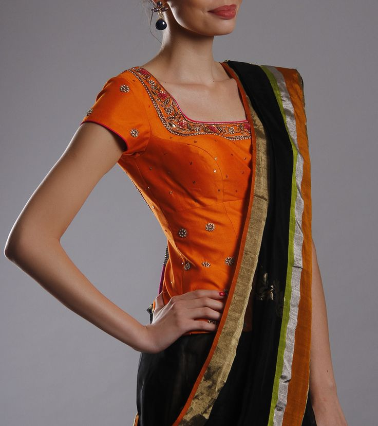 Blouse by Anoushkriti 9384 Orange Embellished Silk Blouse
