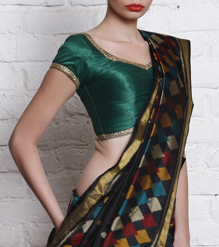 Blouse by Divya Kanakia 2000 Green Silk Blend Blouse