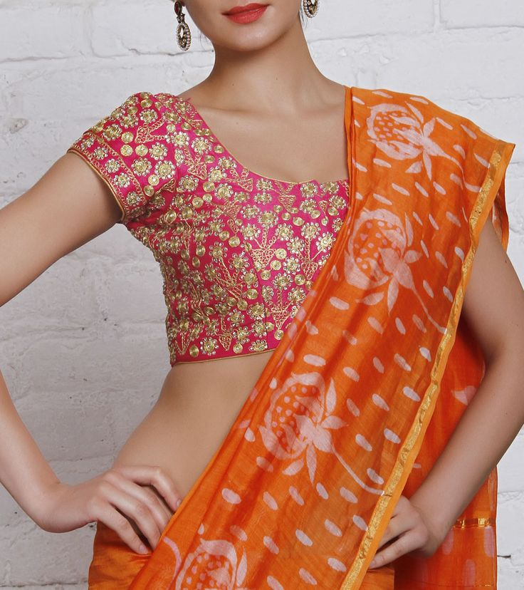 Blouse by Divya Kanakia 6700 Pink Embroidered Cotton Silk Blouse