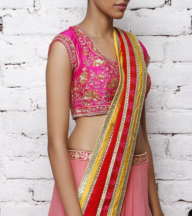 Blouse by Shyam Narayan Prasad 10050 Pink Silk Blouse with Applique Work