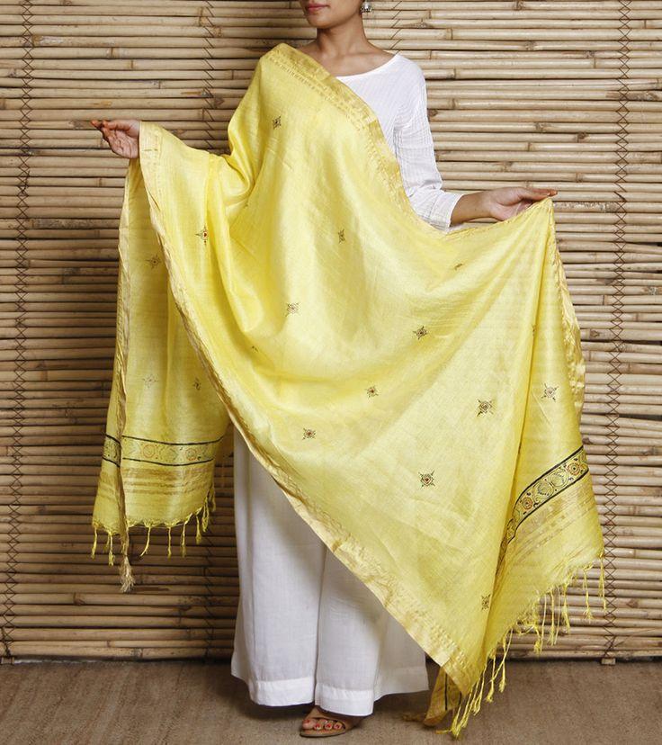 Dupatta by Kruti - Apparel 1900 Yellow Cotton Silk Dupatta With Hand Painted Pattachitra