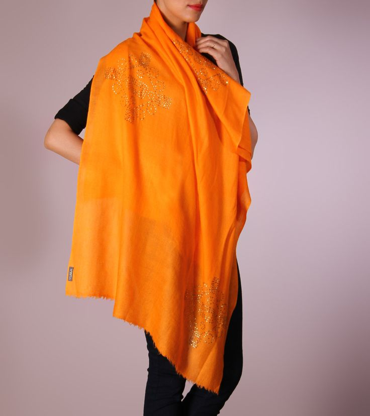 Dupatta shawl by Vuala 4800 Orange Cashmere Shawl
