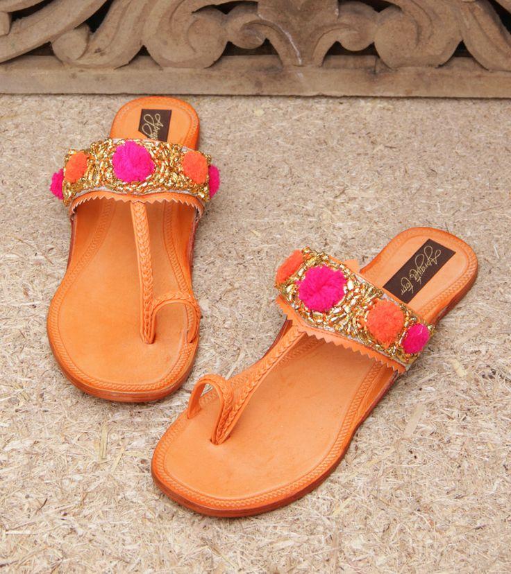 Footwear by Aprajita Toor 2899 Orange Leather Kolhapuris With Pompoms