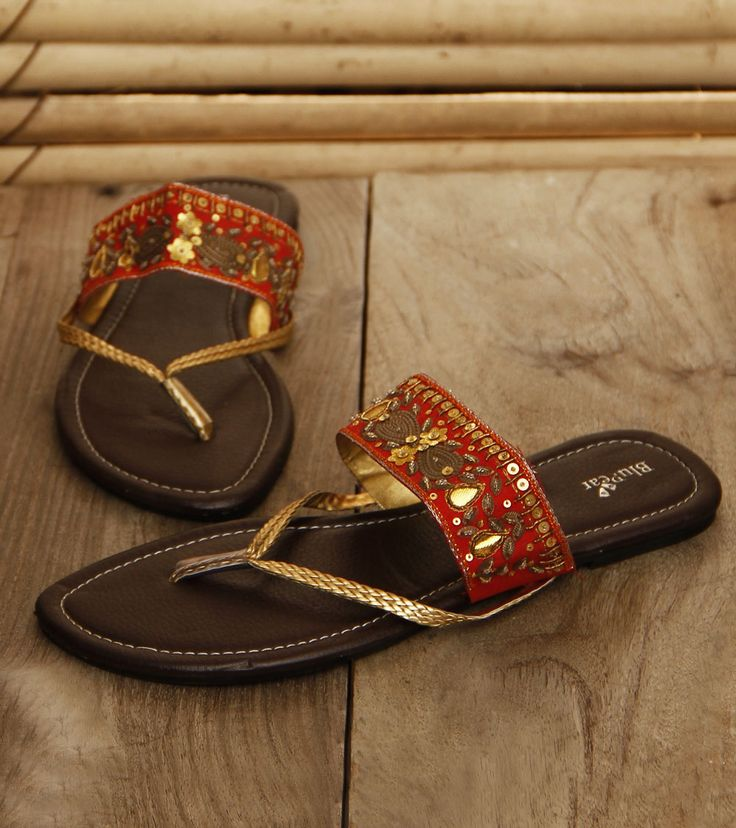 Footwear by BluPear by Buzzaria 1500 Red Rexine Chappals with Embellishments