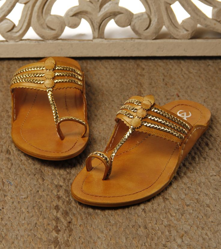 Footwear by VC 1950 Yellow & Golden Kolhapuri Leather Chappals