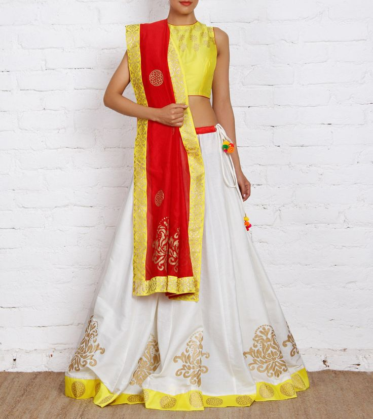 Lehenga by ANS 7500 White and Yellow Cotton Silk & Chanderi Lehenga Set