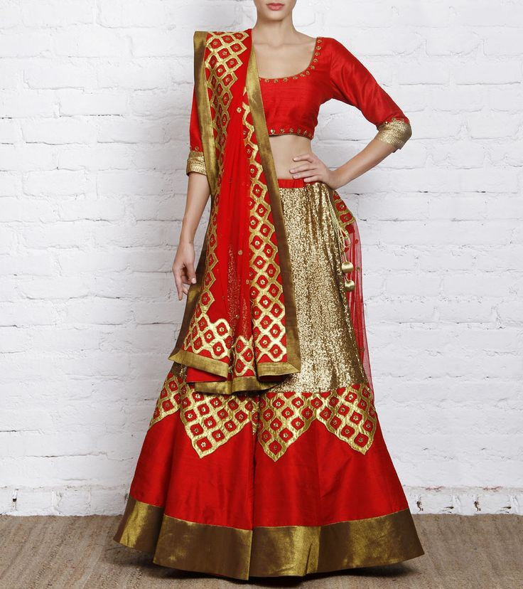 Lehenga by Priyal Prakash 49990 Red Raw Silk Lehenga Set