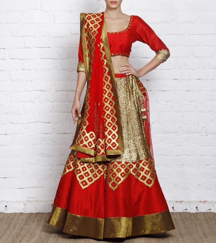 Lehenga by Priyal Prakash 49990 Red Raw Silk Lehenga Set