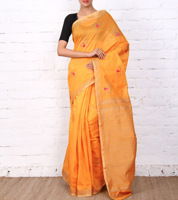 Sari by ANS 5500 Yellow Embroidered Chanderi Saree