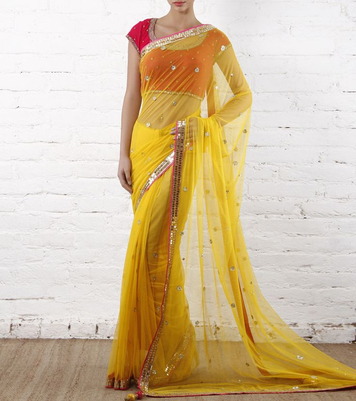 Sari by Arpan Vohra 28500 Yellow Sequined Tulle Saree
