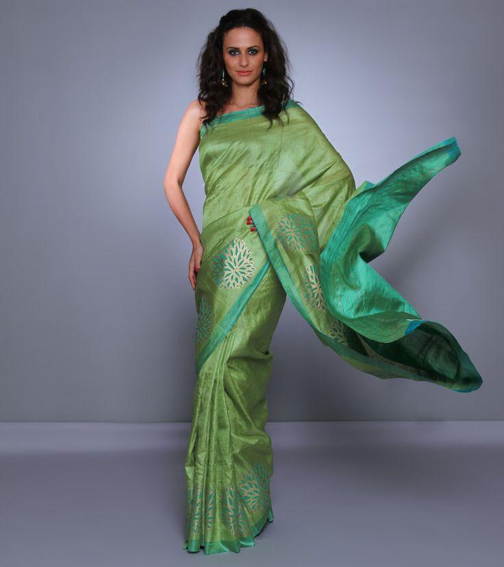 Sari by Devnaagri 13000 Green Tussar Silk