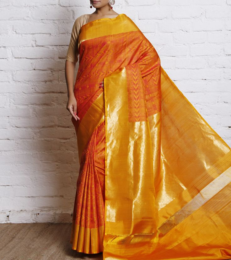 Sari by Tithli Silks 15300 Mustard Handwoven Pure Silk Saree