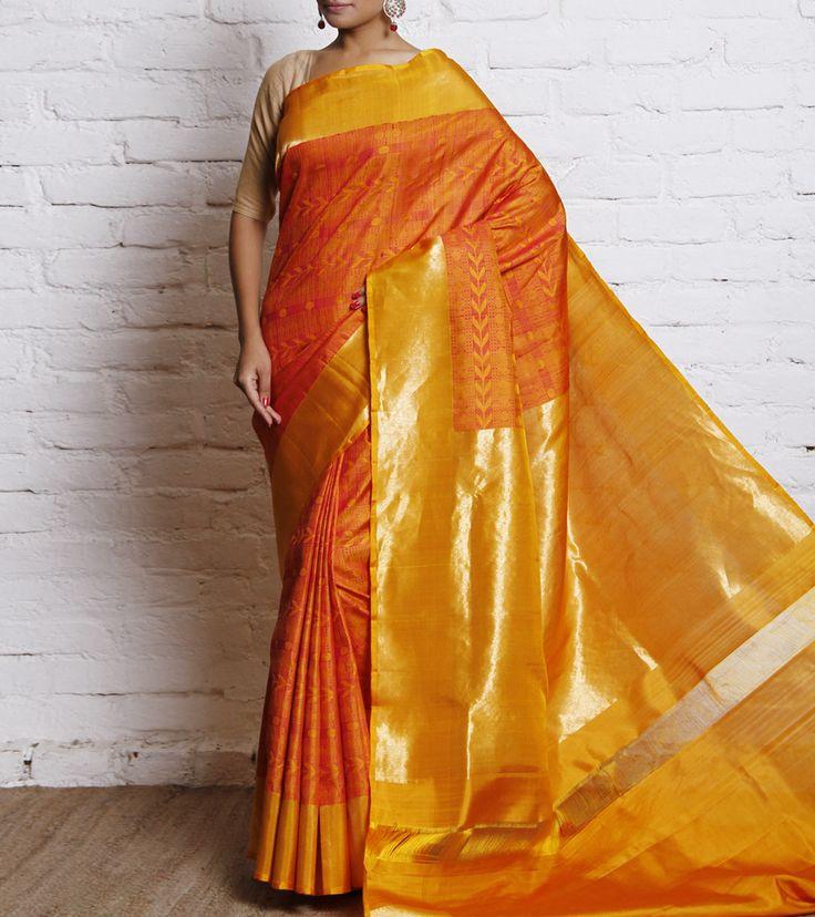 Sari by Tithli Silks 15300 Mustard Handwoven Pure Silk Saree
