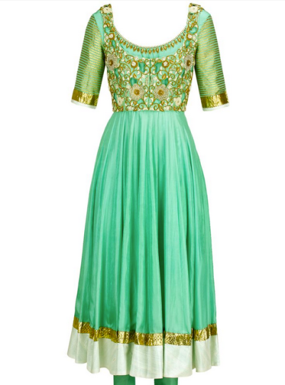 Tisha Saksena green anarkali What to wear to my friends wedding