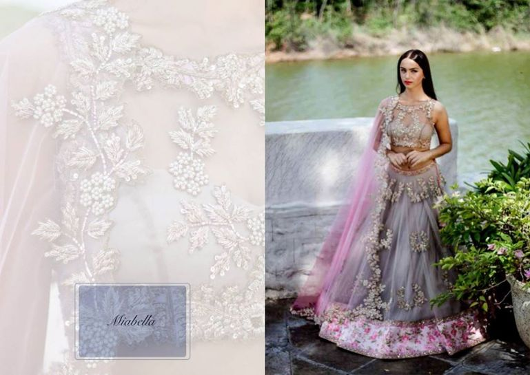 Anushree Reddy current collection at AZA Mumbai lavender lehenga