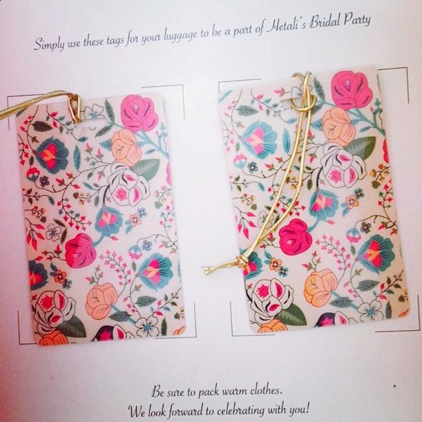 Floral luggage tags for destination wedding idea