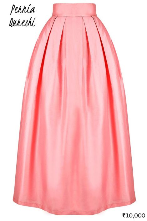 10000 Blush pink Pernia Qureshi satin maxi skirt as lehenga