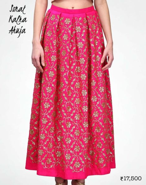 17500 Fuschia maxi skirt by Sonal Kalra Ahuja as lehenga