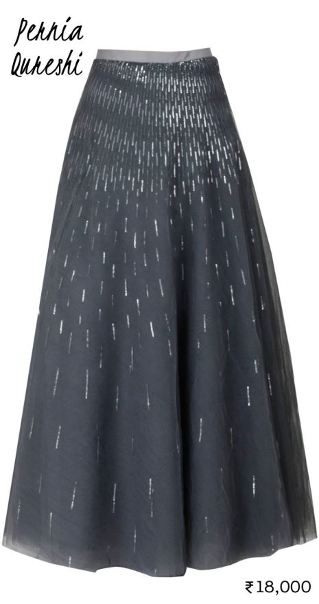 18000 Grey Pernia Qureshi maxi skirt with silver sequins as lehenga