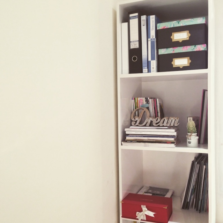 2 A Blogger's Office white furniture book shelf office decor