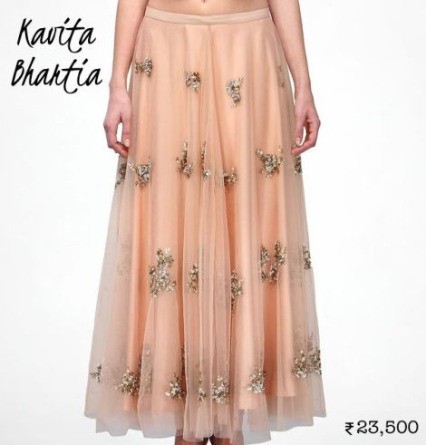 23500 Neutral toned Kavita Bhartia maxi skirt as lehenga