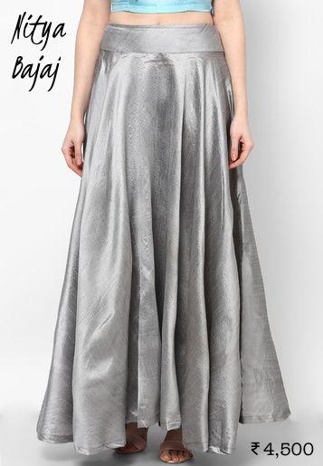 4500 Grey Nitya Bajaj maxi skirt from Jabong as lehenga