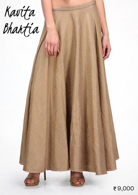 9000 Matte gold Kavita Bhartia maxi skirt as lehenga