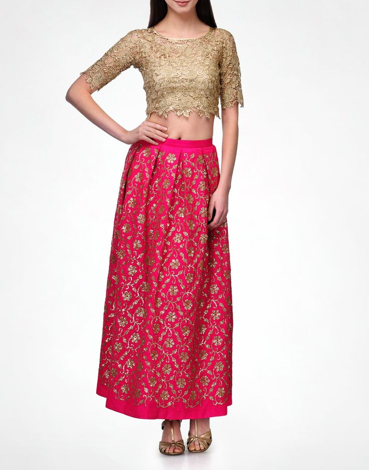 Fuschia embroidered maxi skirt with nude crop top
