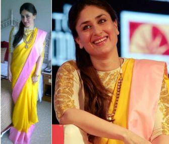Kareen Kapoor in yellow ivory and pink Masaba sari