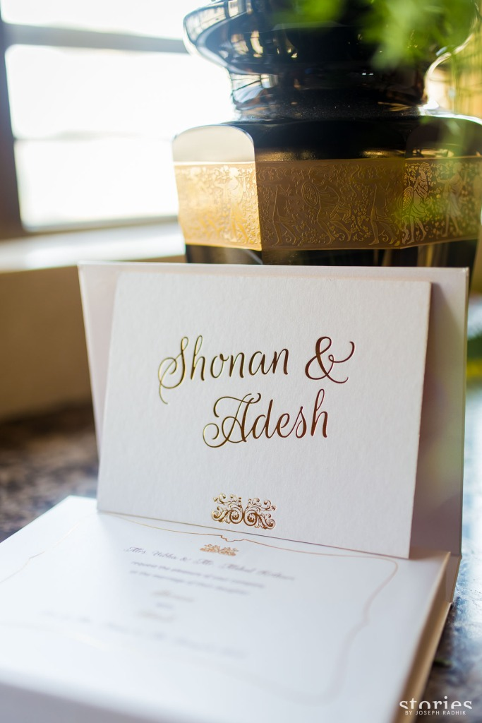 Shonan & Adesh wedding invite shadow box front