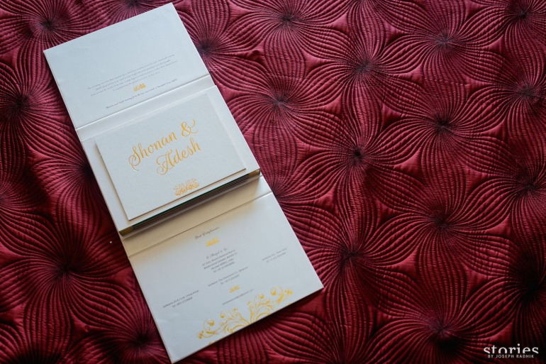 Shonan & Adesh wedding invite shadow box open colour