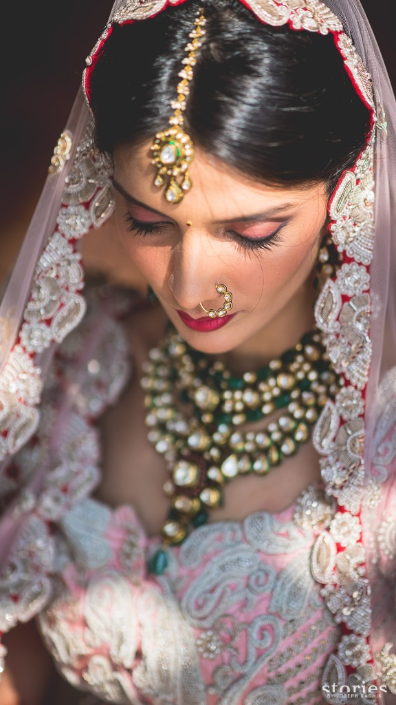 Anamika Khanna bridal lehenga re use grandmother's wedding outfit Shonan & Adesh bridal portrait 1