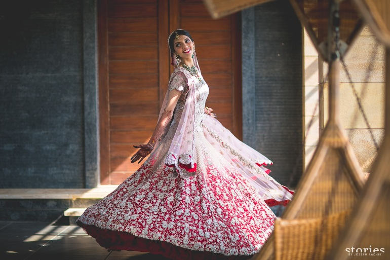 Anamika Khanna bridal lehenga re use grandmother's wedding outfit Shonan & Adesh bridal portrait 2