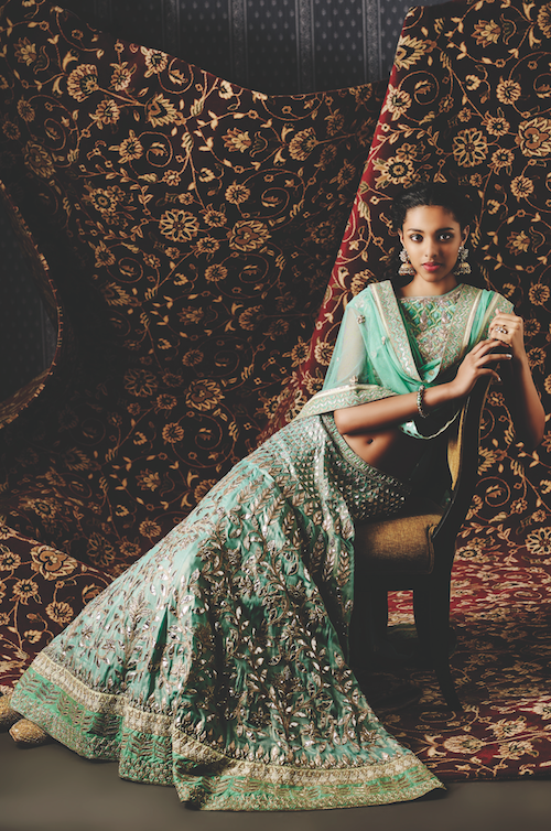 Blue green gota patti lehenga - The Aakashi Lehenga by Anita Dongre | Summer Bride 2015 new collection | thedelhibride Indian weddings blog
