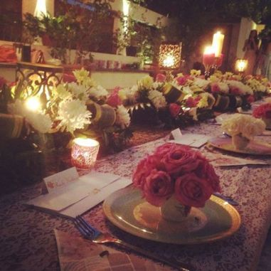 The table layout at the sit down dinner aka bridal shower