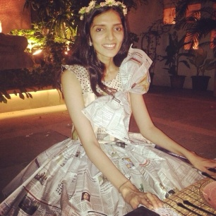 Shonan in her cute newspaper bridal dress!