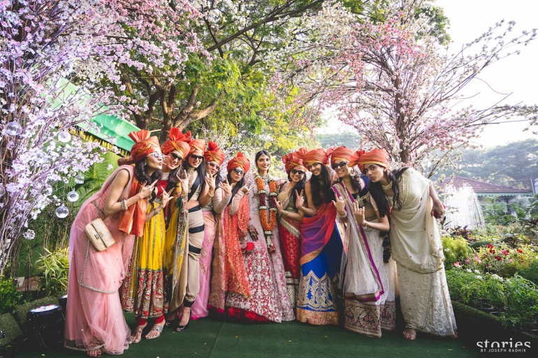 Bride's Baraat Turf Club Mumbai wedding bridesmaids in safas Shonan & Adesh | thedelhibride Indian wedding blog