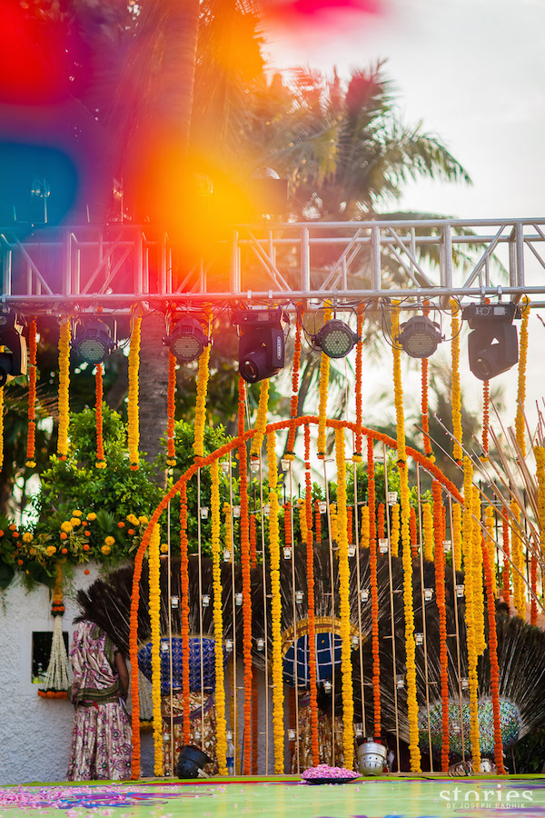Brij Holi stage decor backdrop Shonan & Adesh