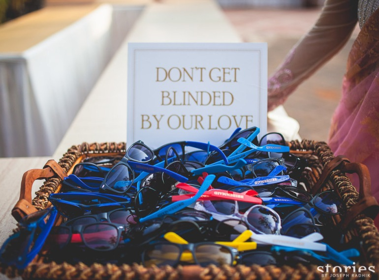 Customised sunglasses bridesmaid day wedding ideas cute signs | thedelhibride Indian wedding