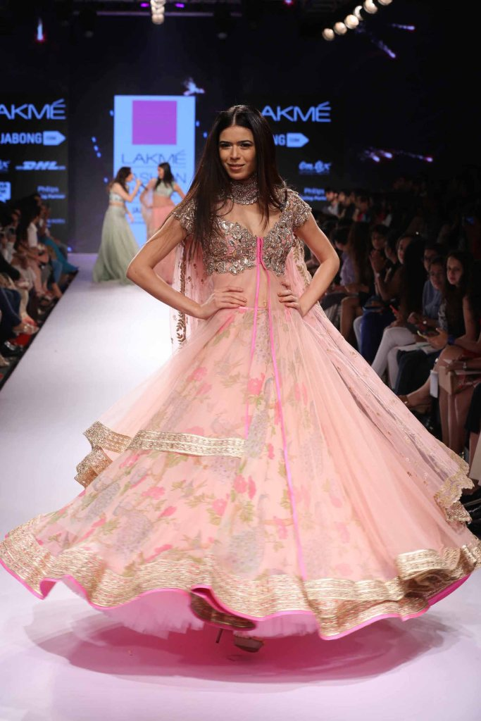 Floral pink sheer jacket lehenga Anushree Reddy at Lakme Fashion Week Summer Resort 2015