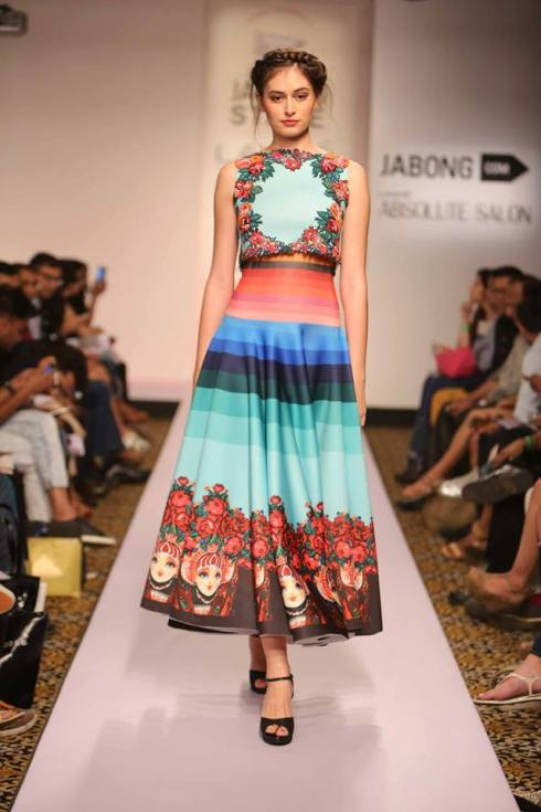 Honeymoon Outfit | Colourful chic dress by Neha Agrawal | Lakme Fashion Week Summer Resort 2015 | thedelhibride Indian weddings blog
