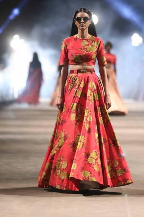 Honeymoon outfit | Floral Maxi skirt by Sabyasachi | Lakme Fashion Week Summer Resort 2015 | thedelhibride Indian weddings blog